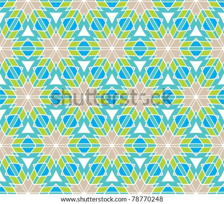 Seamless geometric pattern with stars and flowers in grey, blue, green - stock vector