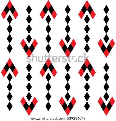 Seamless geometric pattern with tribal elements in black and red colors on the white background with arrows. Vector.