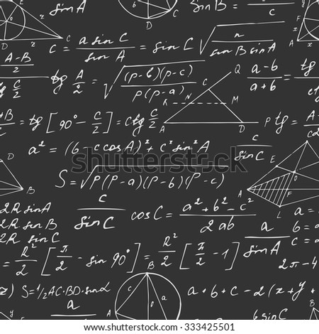 Seamless geometric pattern with trigonometry formulas on a blackboard. Hand drawn. Vector illustration