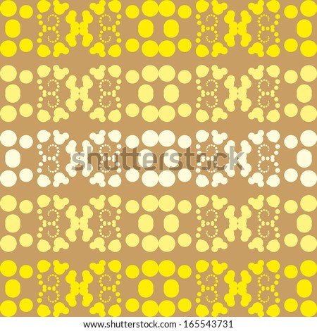 Seamless geometric pattern with yellow circles and curls vector design elements