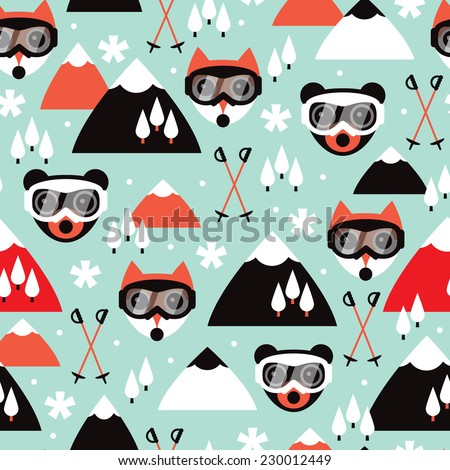Seamless geometric polar bears winter ski resort woodland forest illustration background pattern in vector - stock vector