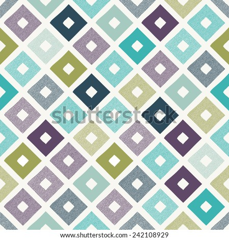 seamless geometric rhombus dots doodle pattern - stock vector