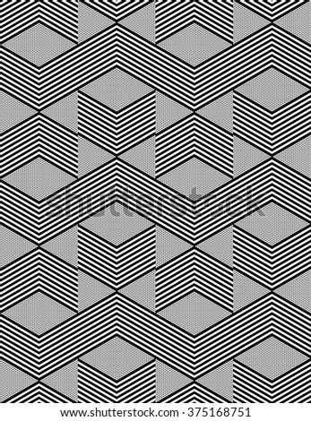 Seamless geometric texture. Diamonds, triangles  and zigzag pattern. Vector art. - stock vector