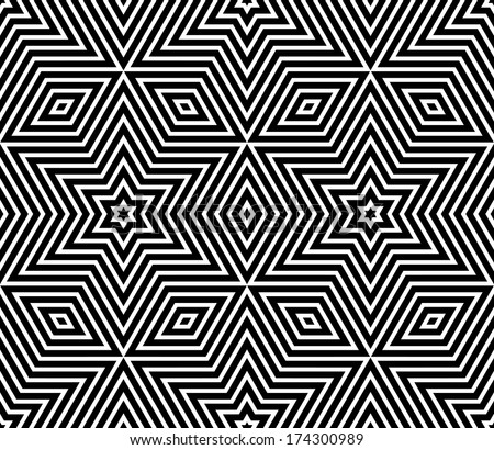 Seamless geometric texture. Stars pattern. Vector art. - stock vector
