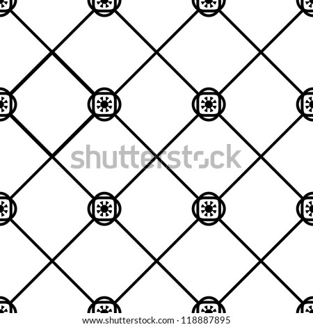 Seamless  geometric tile pattern black and white - stock vector