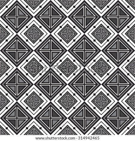 seamless geometric triangle and square pattern, vector illustration - stock vector