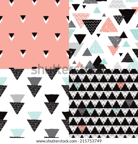 Seamless geometric tribal triangle hand drawn pastel background pattern in vector - stock vector