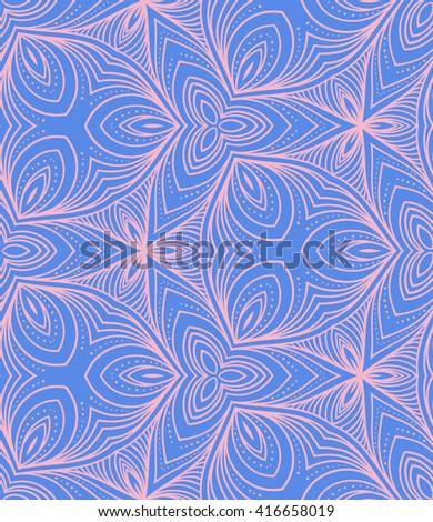 Seamless geometric vector ornamental pattern background. Meditative zentangle creative illustration. - stock vector