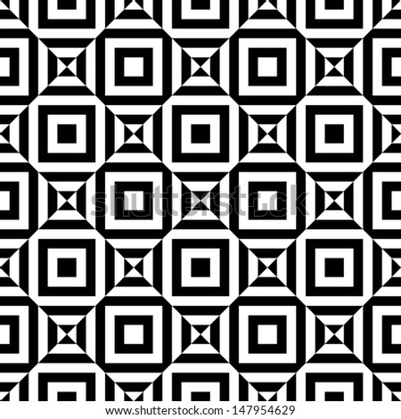 Seamless geometric vector pattern background black and white - stock vector