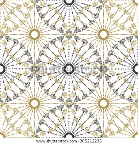Seamless geometric vintage pattern. Vector black and gold circle retro texture - stock vector