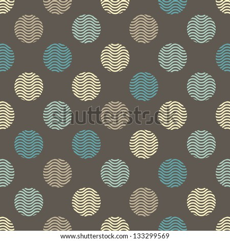 Seamless geometric wave polka dot  pattern background - stock vector