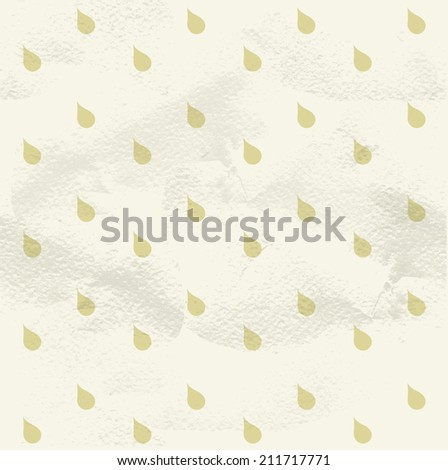 Seamless geometric white vintage pattern from beige raindrops - stock vector