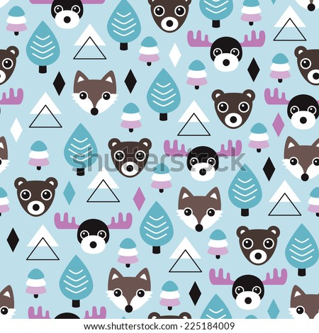 Seamless geometric winter wonderland woodland wolf fox bear and moose animals illustration background pattern in vector - stock vector