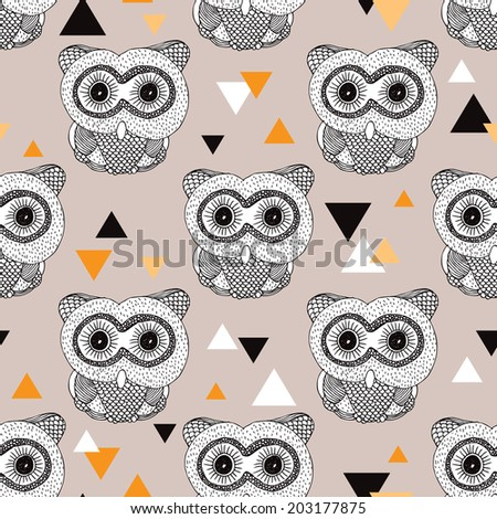 Seamless geometric woodland animal doodle sketch illustration owl background pattern in vector - stock vector
