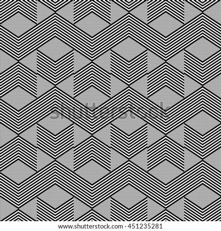 Seamless geometric zig zag pattern. Vector art. - stock vector