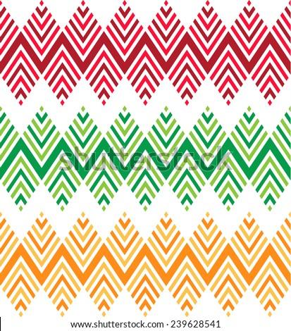 Seamless geometric zig zag patterns - stock vector