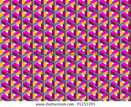 Seamless geometrical abstract 3D pattern - stock vector
