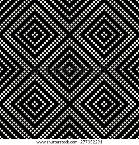 Seamless geometrical pattern with Rhombus of circles on a black background. Vector illustration.