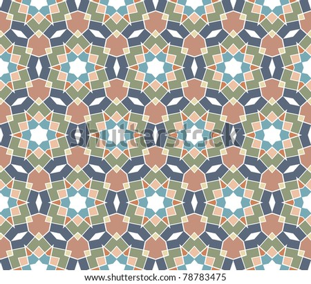 Seamless geometrical pattern with stars in blue, grey, brown, green - stock vector