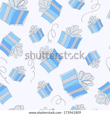 Seamless gift boxes pattern in blue color. Cheerful texture, good for greeting card design.