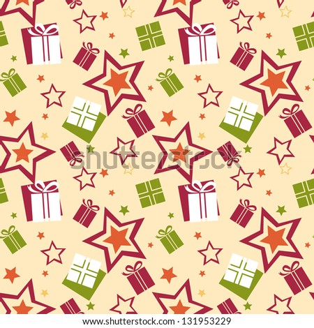 Seamless gift pattern - stock vector