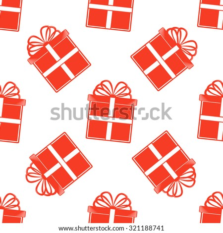 Seamless  Gift pattern, red gift boxes on white background for invitatons and cards - stock vector