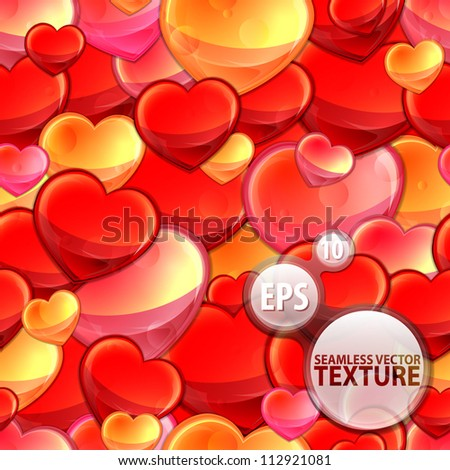 Seamless glossy red heart with water drops eps10 vector background pattern - stock vector