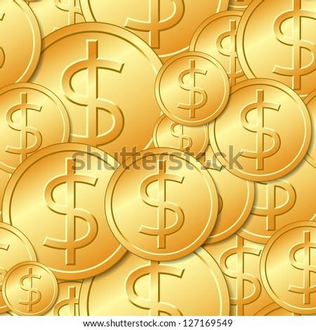 Seamless Gold Dollar Coin Pattern - stock vector