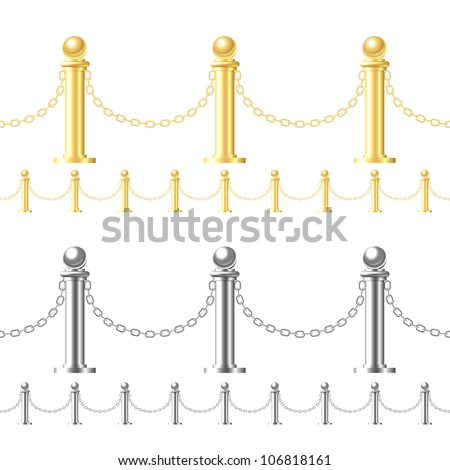 Seamless gold fence and steel fence isolated on white - stock vector