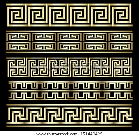 Seamless Gold Meander Patterns - stock vector