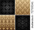 seamless gold set four vintage backgrounds ornament decor retro. Gold background. Gold pattern. Black pattern - stock vector
