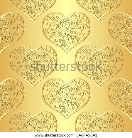 Seamless gold valentine pattern with lacy hearts  (vector) - stock vector