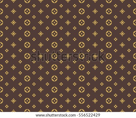 Seamless golden pattern on brown background
