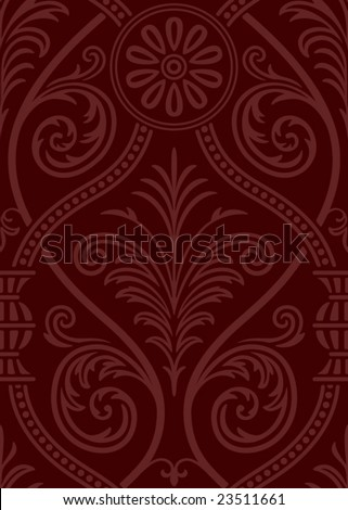 Seamless gothic Damask Web Background - stock vector