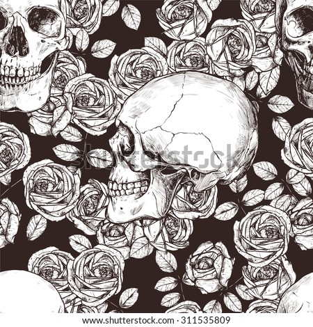 Seamless Gothic Pattern With Monochrome Hand Drawn Skulls And Roses - stock vector
