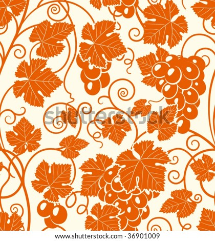 Seamless grape pattern - stock vector