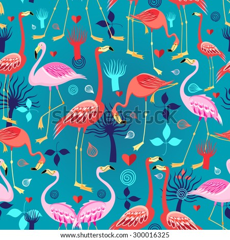 Seamless graphic pattern of flamingos in love among the trees - stock vector
