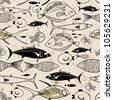 seamless graphic pattern with fish - stock vector