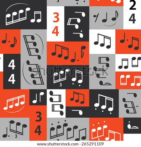 Seamless graphic pattern with notes. The texture on the subject of music, jazz, rhythm. - stock vector