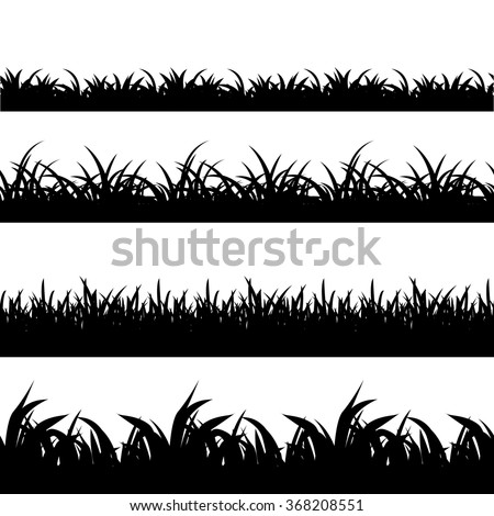 grass clipart black and white vector. seamless grass black silhouette vector set landscape nature plant and field monochrome illustration clipart white a