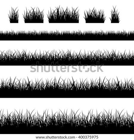 Seamless grass silhouettes. Black grass vector borders vector - stock vector