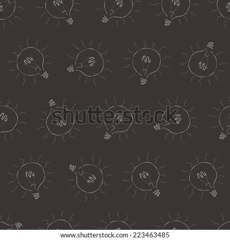 Seamless gray background with the bulbs radiating light, vector illustration