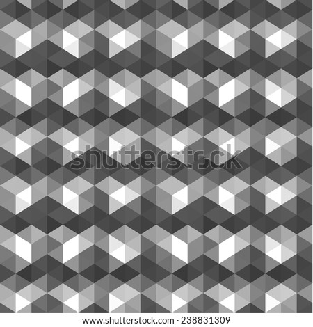 Seamless gray geometric background - stock vector