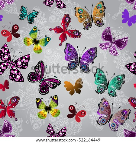 Seamless gray gradient pattern with bright colorful and white lace butterflies, vector