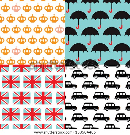 Seamless Great Britain icons illustration pattern background set in vector - stock vector