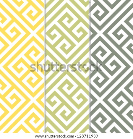 Seamless Greek Key Background Pattern in Three Color Variations - stock vector