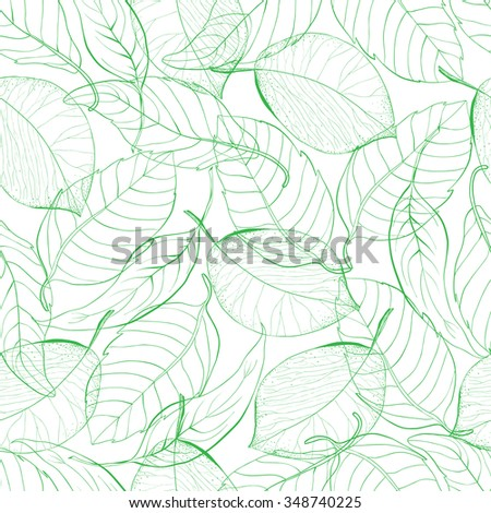 Seamless green abstract tangerine lemon leaves vector pattern. Natural simple background on white. Hand drawn leaves - stock vector