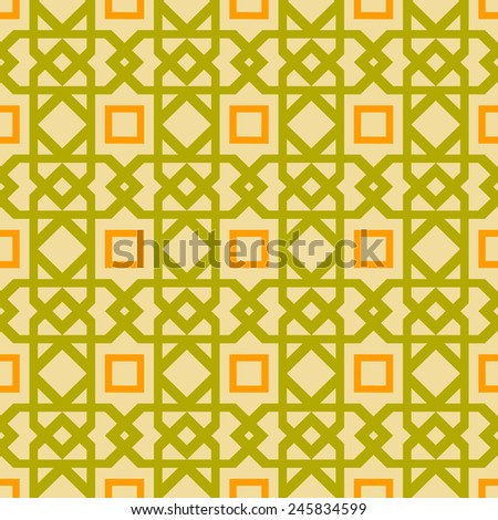 Seamless green and orange geometric pattern - stock vector