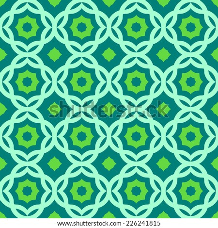 Seamless green  arabic geometric pattern - stock vector