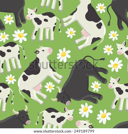 Seamless green background with a pattern of drawn cheerful white-black spotted cow, calf and black bull. Field of daisies - stock vector